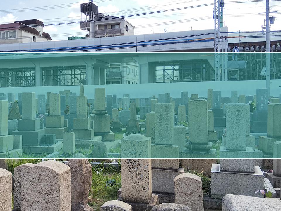 深江墓地の墓地風景